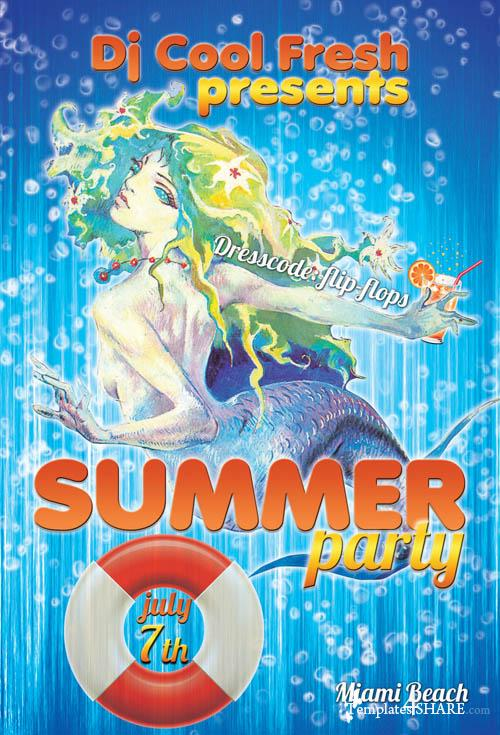 Summer Party Flyer - PSD Template