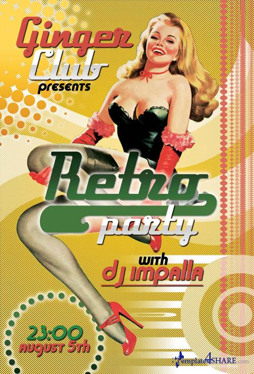 Retro Party Flyer (PSD)