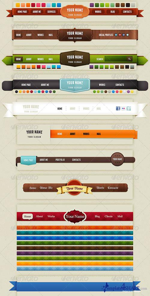 GraphicRiver Bundle of Navigation & Web Elements