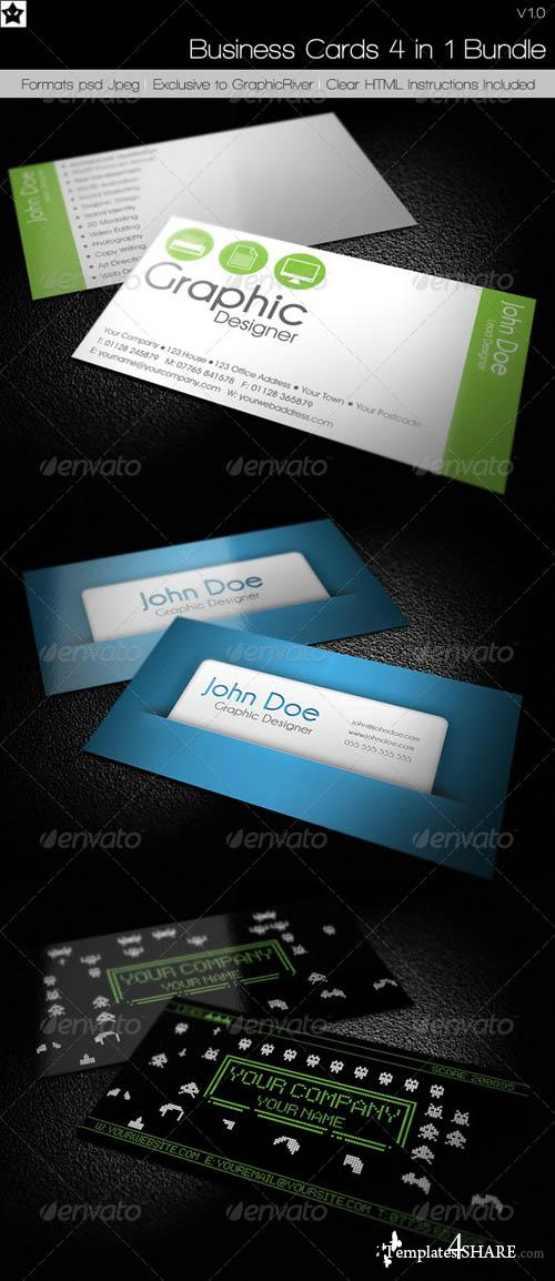 GraphicRiver Business cards 4 in 1 Bundle - REUPLOAD