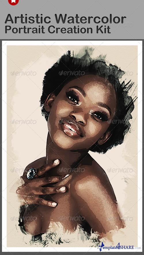 GraphicRiver Artistic Watercolor Portrait Creation Kit