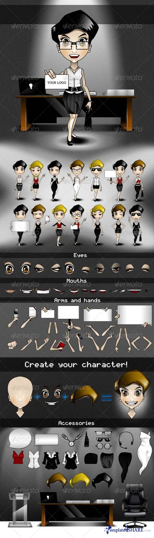 GraphicRiver Animatable Business Woman Cartoon Character Kit