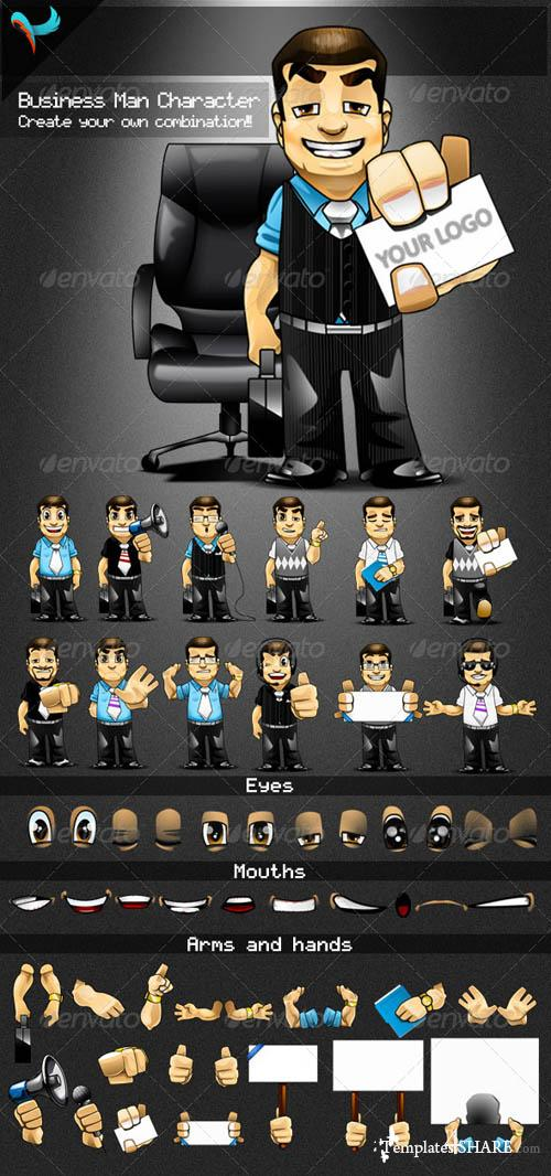 GraphicRiver Animatable Business Man Cartoon Character Kit
