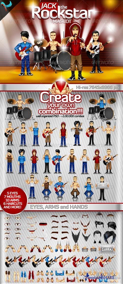 GraphicRiver Editable Rockstar - Rockband Mascot