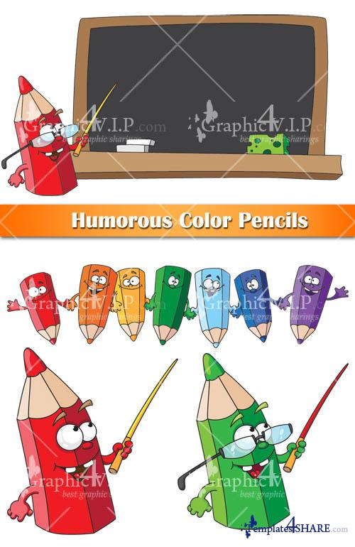 Humorous Color Pencils - Vector Graphics