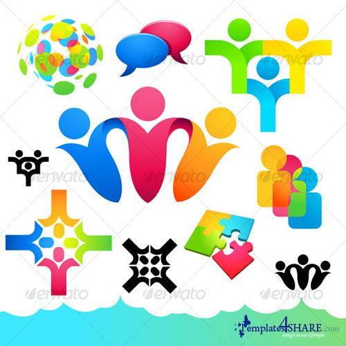 GraphicRiver Social People Icons and Elements