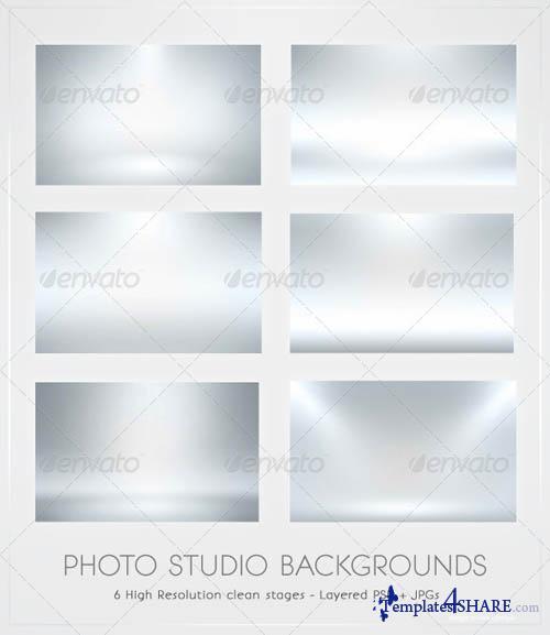 GraphicRiver Infinite White Floor Spotlight Backgrounds