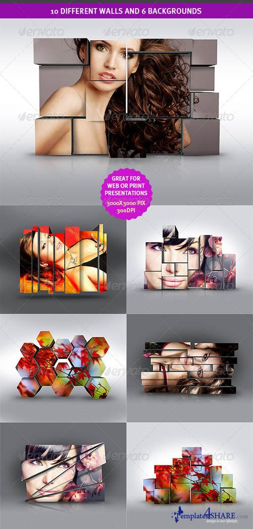 GraphicRiver 3D Wall Photo Mock-Ups 1