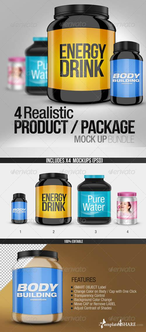 GraphicRiver 4 Realistic Product/Package Mock up Pack