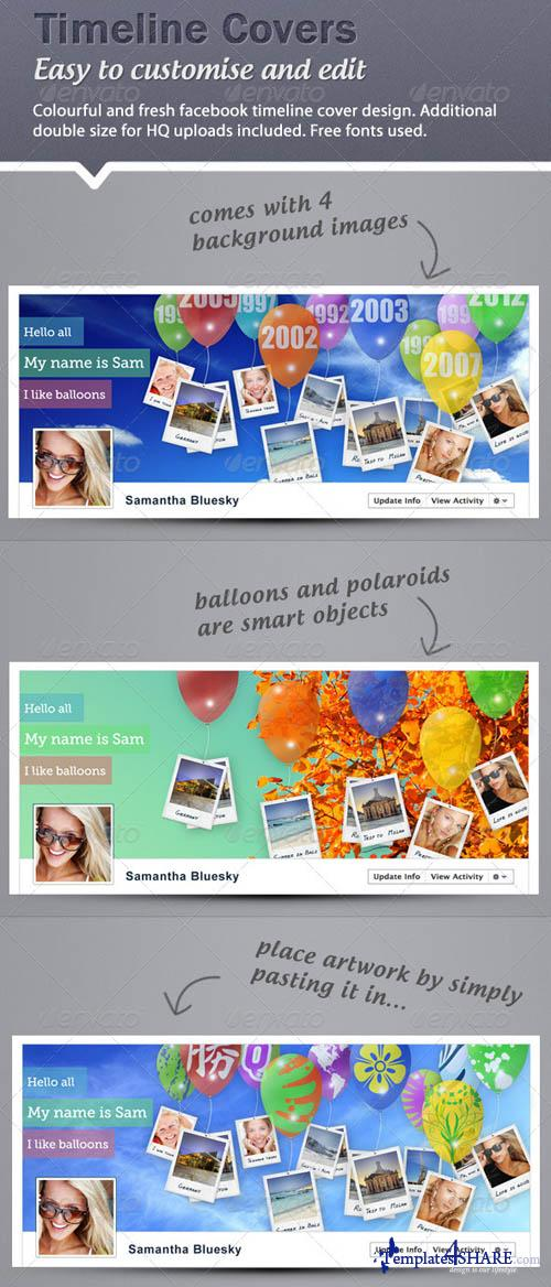 GraphicRiver Timeline Cover - Balloons and Polaroids