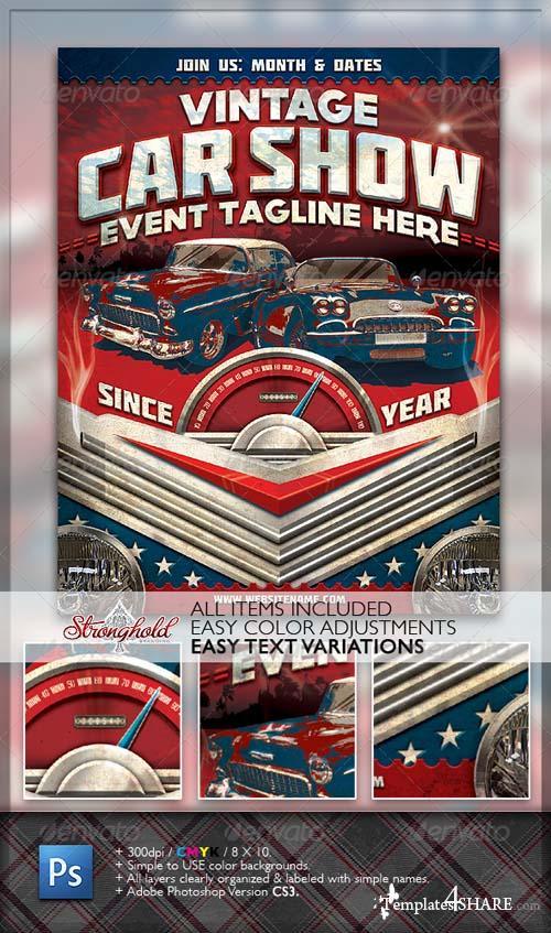 GraphicRiver Vintage Car Show Flyer