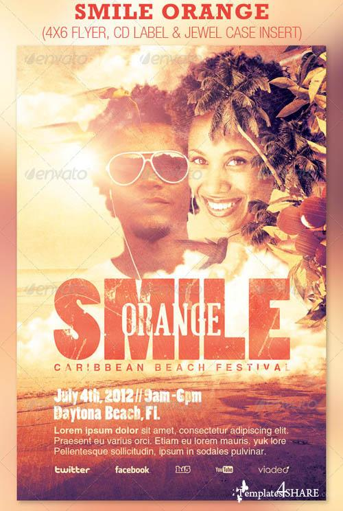 GraphicRiver Smile Orange Event Flyer and CD Template