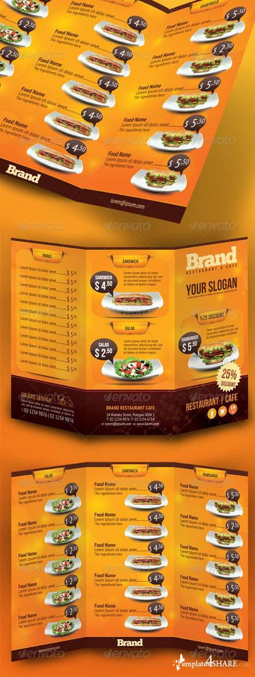 GraphicRiver Trifold Brochure Restaurant Cafe Menu PSD Template