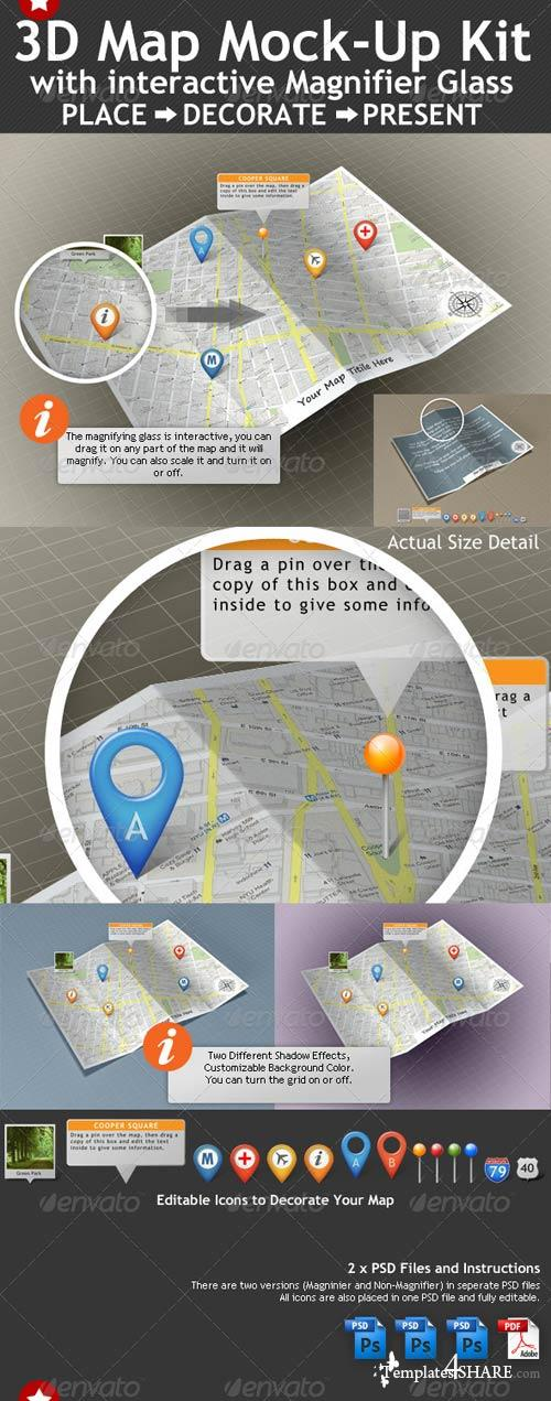 GraphicRiver 3D Map Mock-Up Kit with Magnifying Glass