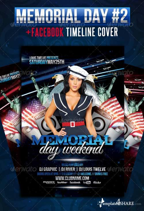 GraphicRiver Memorial Day Weekend Flyer + Facebook Cover