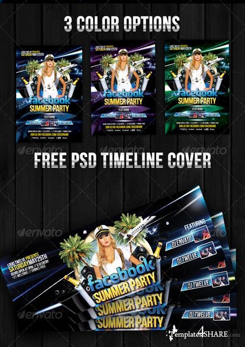 GraphicRiver Facebook Summer Party - Flyer + Fb Timeline