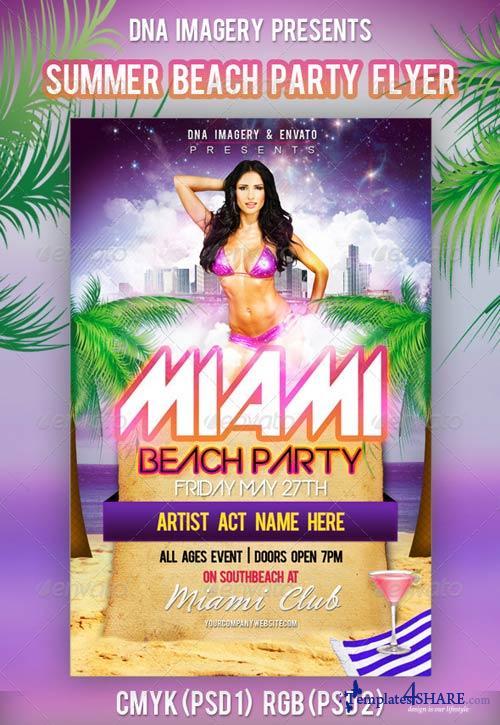 GraphicRiver Miami Beach Party Flyer