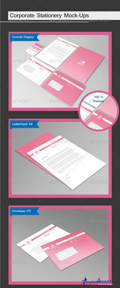 GraphicRiver 4 in 1 Corporate Stationery Mock-Ups