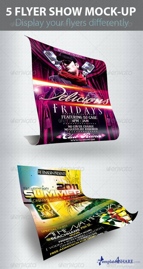 GraphicRiver 5 Flyers Show Mock-up