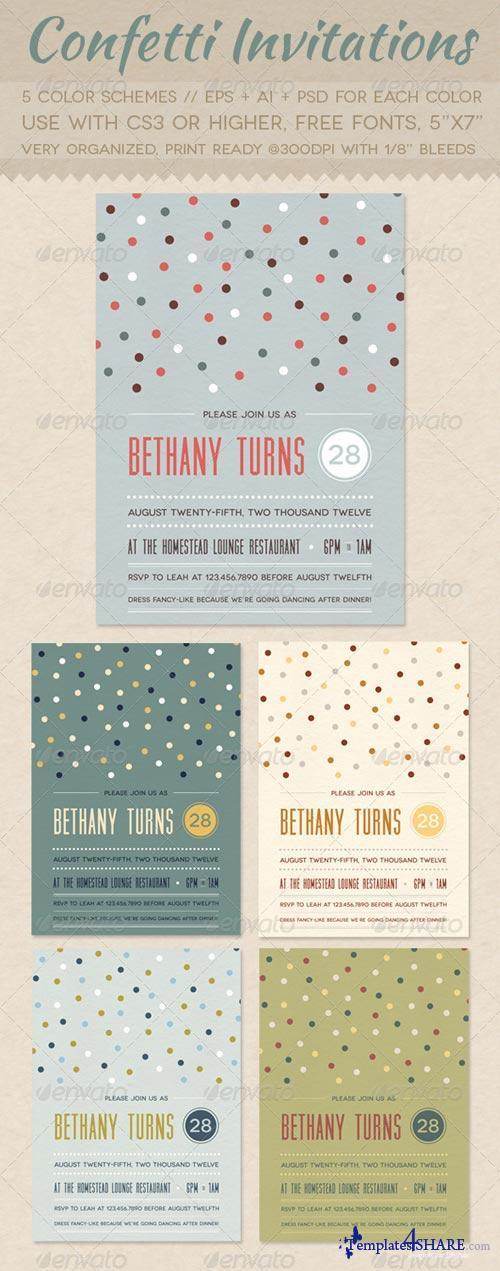 GraphicRiver Confetti Invitations