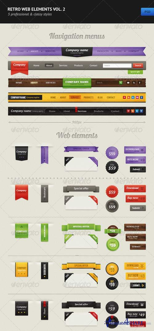 GraphicRiver Retro Web Elements Vol. 2