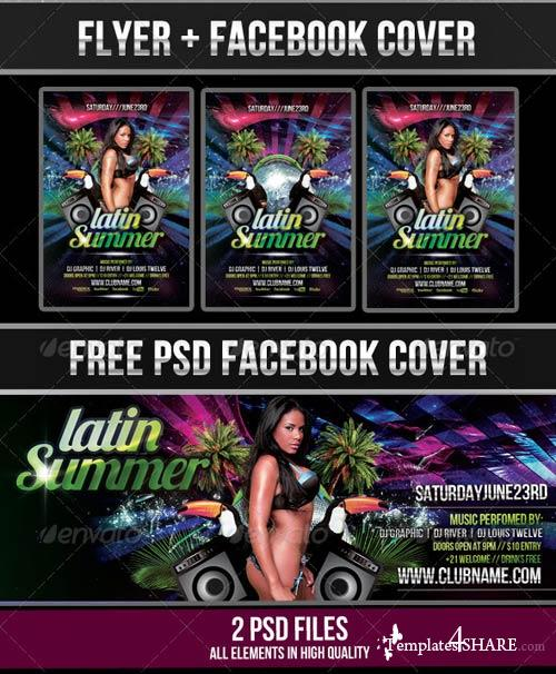 GraphicRiver Latin Summer #2 Party Flyer + Facebook Cover
