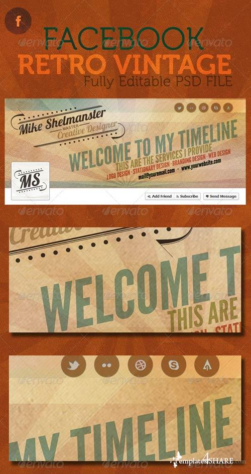 GraphicRiver Facebook Retro Vintage Timeline Cover