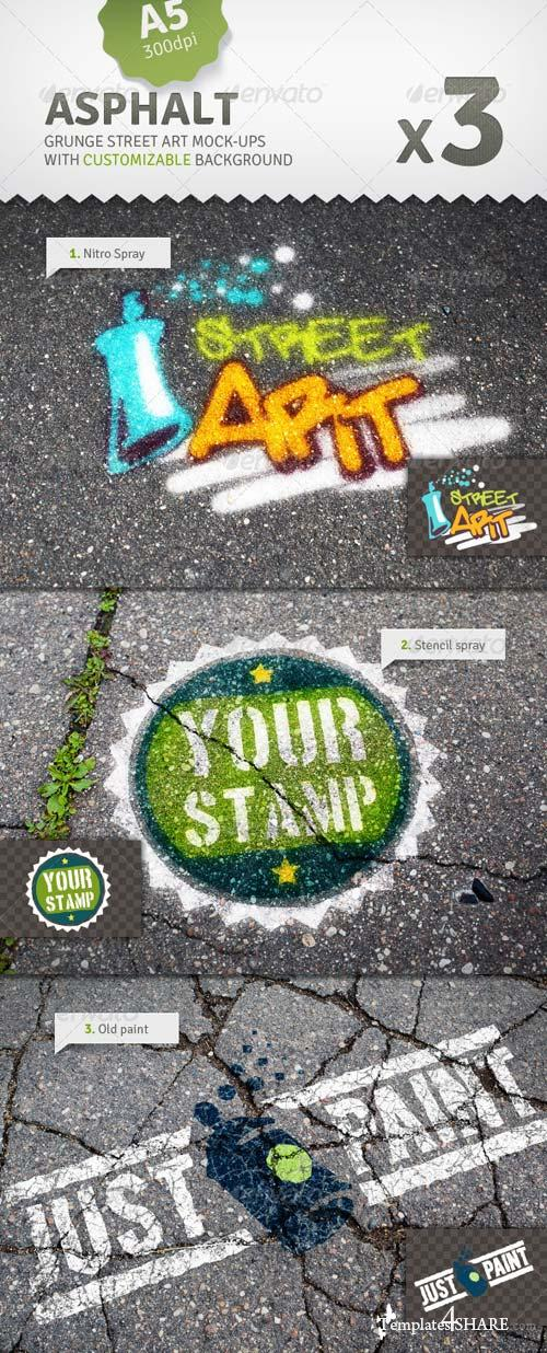 GraphicRiver Asphalt - 3 Graffiti Street Art Mockups