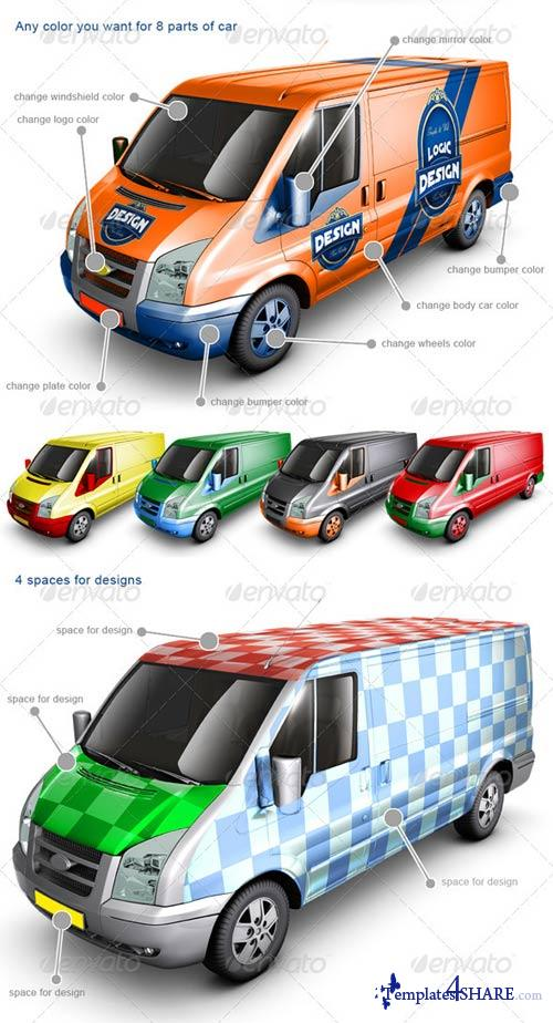 GraphicRiver Van Car Mock Up