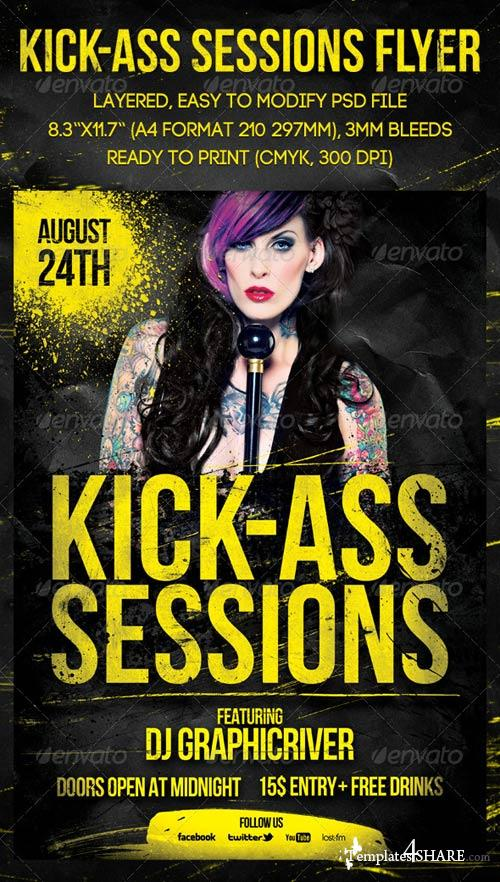 GraphicRiver Kick-Ass Sessions Flyer