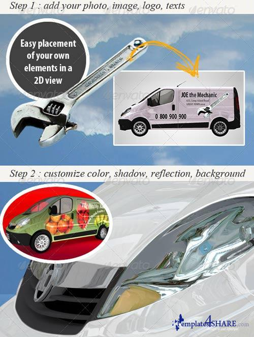 GraphicRiver Customizable Van Mockup