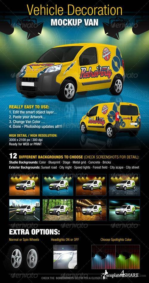 GraphicRiver Vehicle Decoration Mock-Up Van