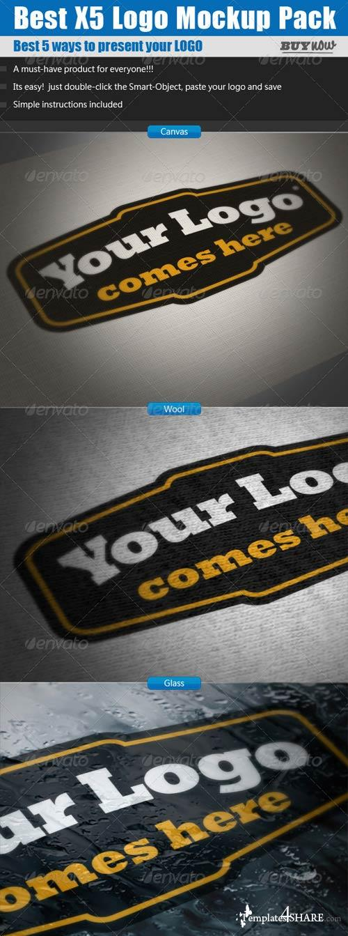 GraphicRiver Logo Mockups x5 Pack - Mock up Template