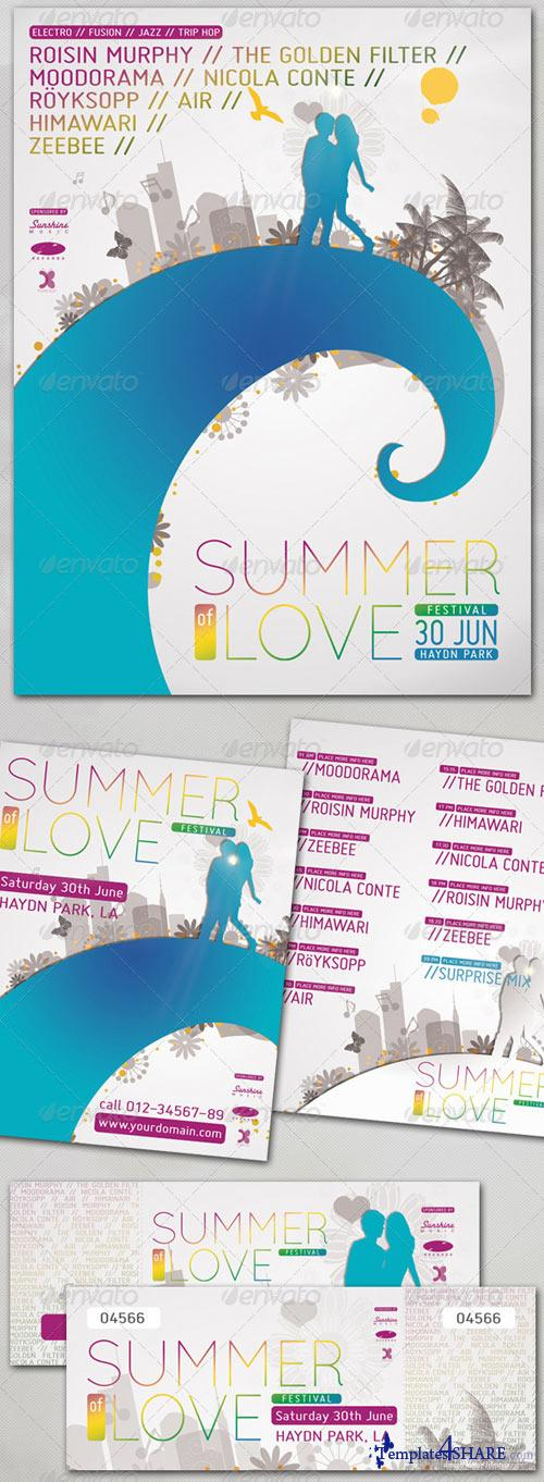 GraphicRiver Summer of Love - Poster, Flyer, Ticket Set