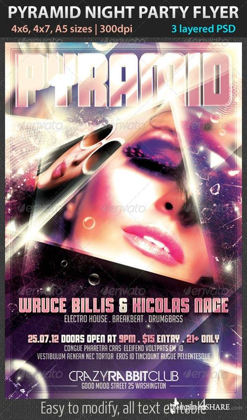 GraphicRiver Pyramid Night Party Flyer