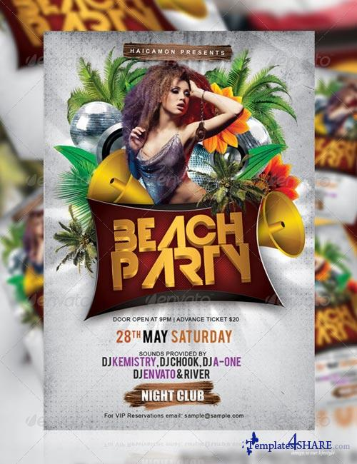 GraphicRiver Beach Night Party Flyer