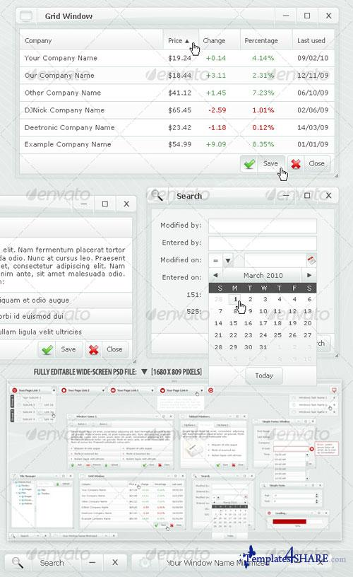 GraphicRiver Web Forms and Windows - Glass Windows Style PSD
