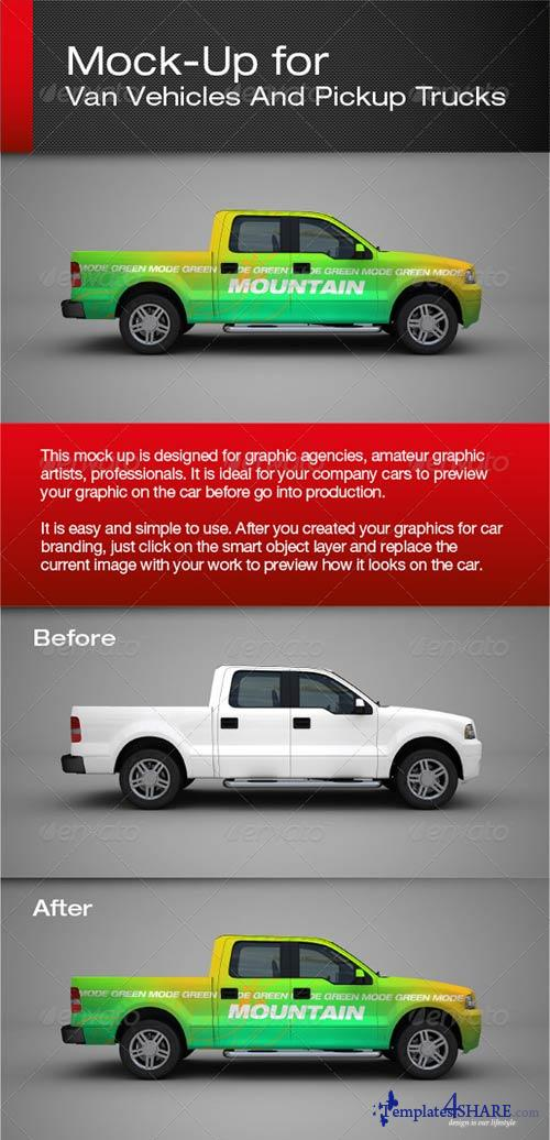 GraphicRiver Van Vehicles And Pickup Trucks Mock-Up