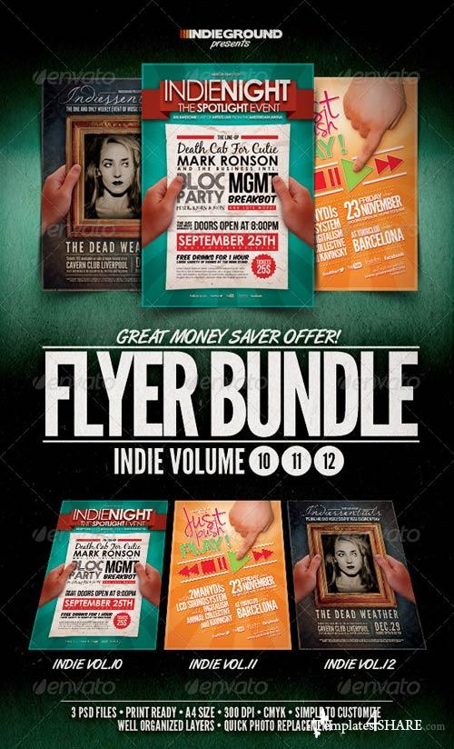 GraphicRiver Indie Flyer/Poster Bundle Vol. 10-12