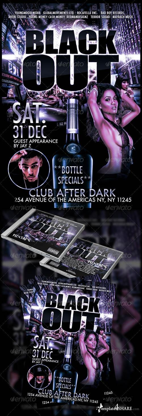 GraphicRiver BlackOut Mixtape and Flyer Set