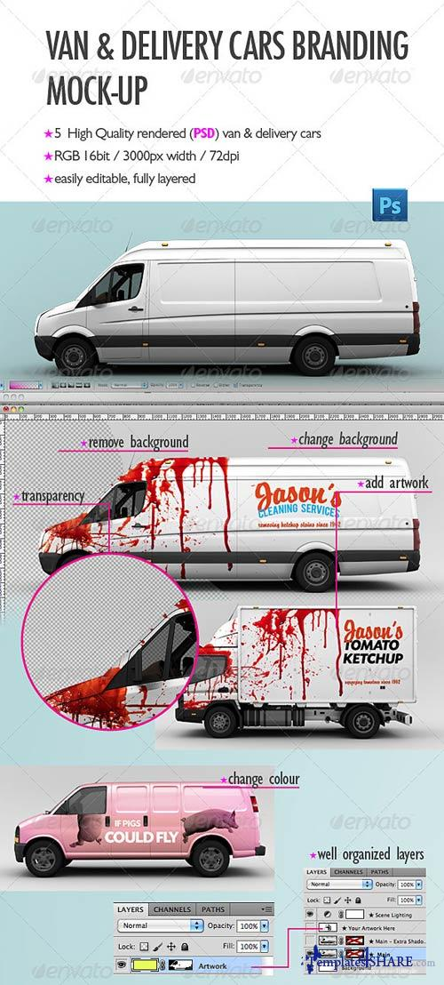 GraphicRiver Van & Delivery Cars Branding Mock-Up