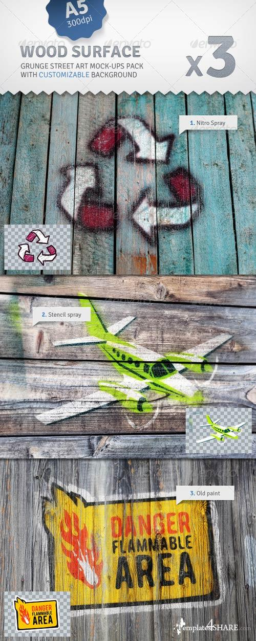 GraphicRiver Old Wood - 3 Graffiti Street Art Mockups