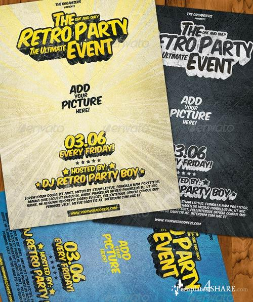 GraphicRiver Retro Party Flyer 3 in 1