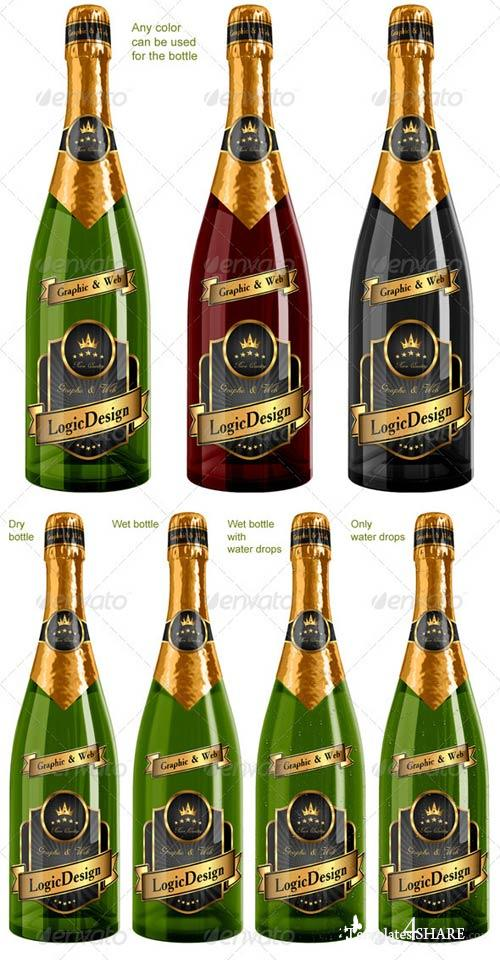GraphicRiver Bottle Champagne Mock Up