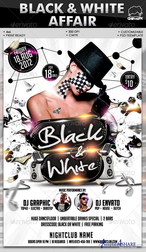 graphicriver black white affair flyer template free web templates. Black Bedroom Furniture Sets. Home Design Ideas