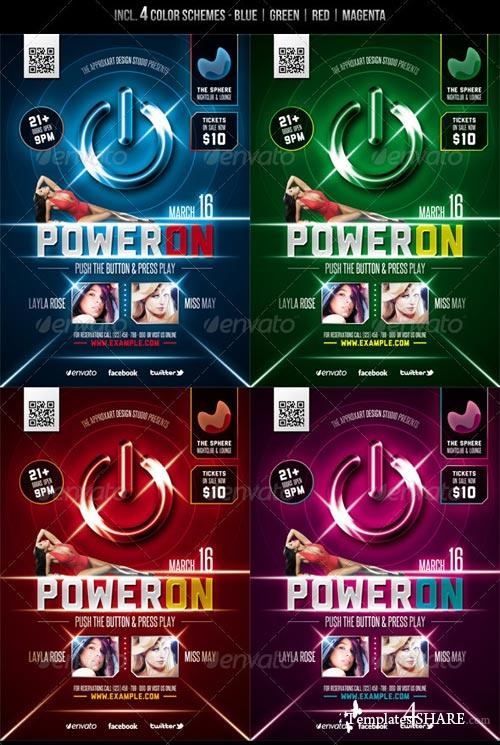 GraphicRiver Power On - Electro Party Flyer