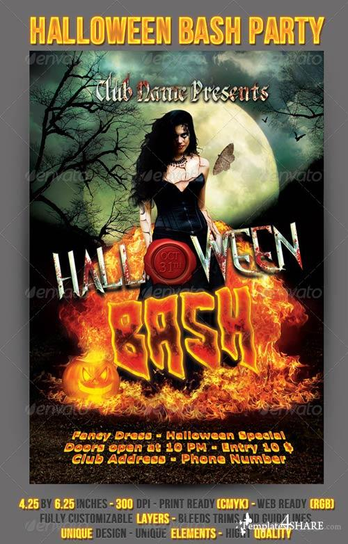 Graphicriver Halloween Bash Party Flyer » Templates4Share.Com