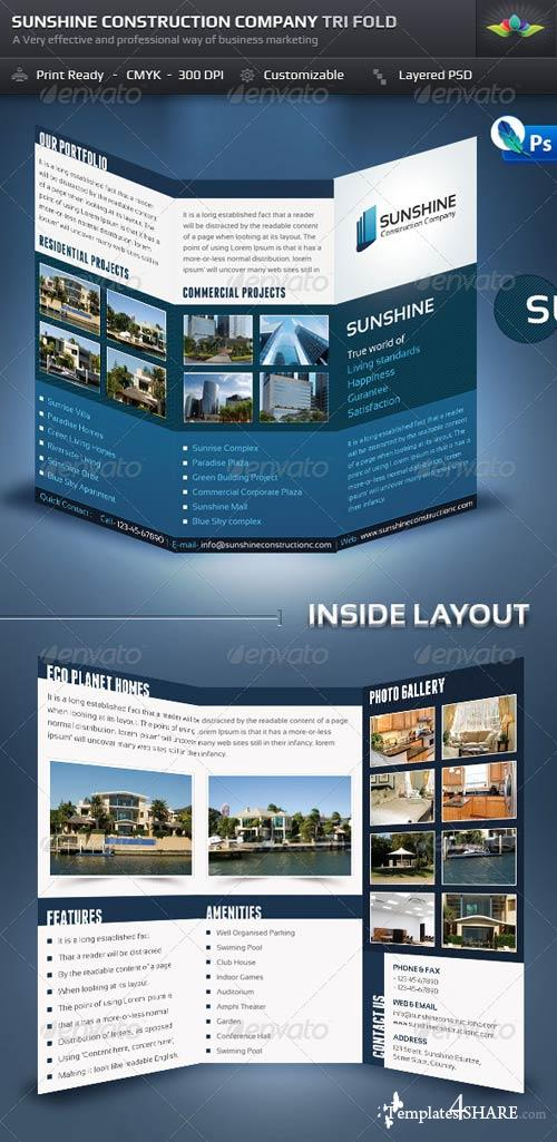 GraphicRiver Sunshine Construction Company Tri Fold Brochure
