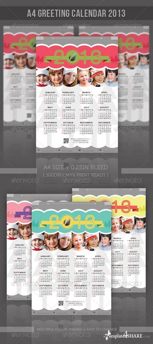 GraphicRiver Greeting A4 Calendar