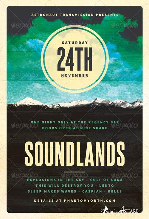 GraphicRiver Sound Lands - Post-Rock Flyer Template